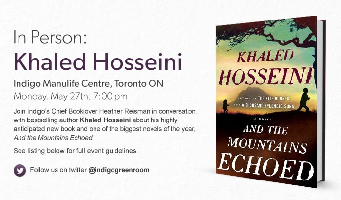 Khaled Hosseini, May 27, Indigo Manulife Centre, Toronto