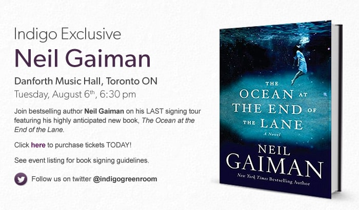 Indigo Exclusive: Neil Gaiman at the Danforth Music Hall in Toronto on Tuesday, August 6th at 6:30 PM