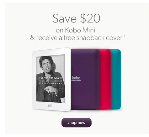 Save $20 on Kobo Mini & receive a free snapback cover(4)