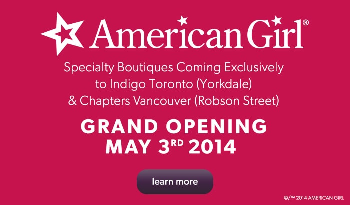 American Girl specialty boutiques coming exclusively to Indigo and Chapters May 3rd