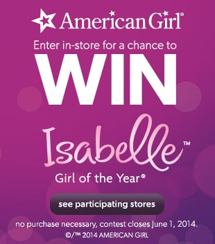 Find your store  for a chance to win American Girl - Isabelle, Girl of the Year
