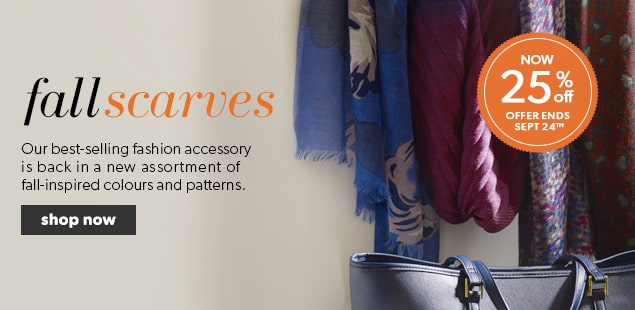 25% off Fall Scarves