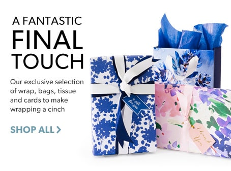 shop wrap, ribbons, bags, tissue and cards - a perfect final touch