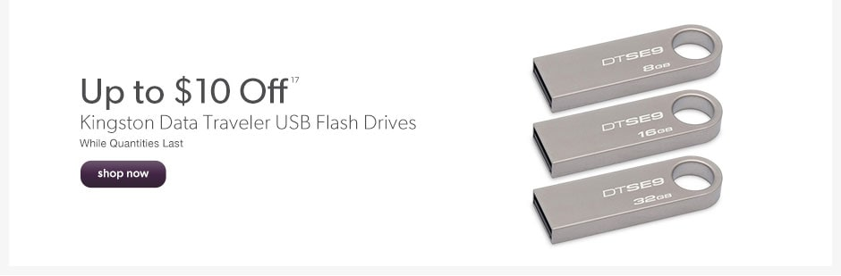 Up to $10 Off Kingston Data Traveler USB Flash Drives. While Quantities Last