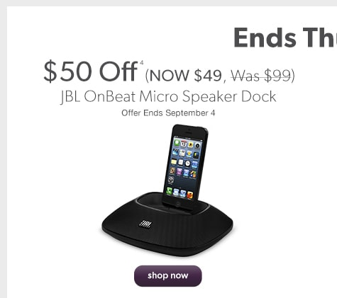 JBL OnBeat Micro Speaker Dock $50 Off (NOW $49, Was $99) Offer Ends September 4