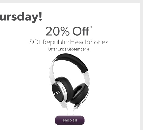 SOL Republic Headphones 20% off. Offer Ends September 4.