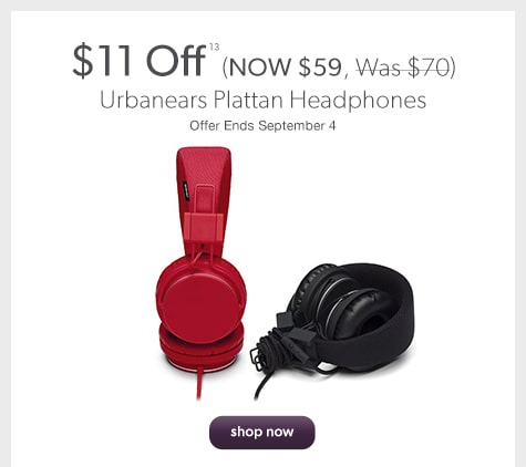 $11 off Urbanears Plattan Headphones (NOW $59, Was $70). Offer Ends September 4