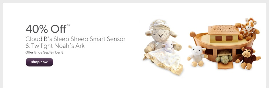 40% off Cloud B's Sleep Sheep Smart Sensor & Twilight Noah's Ark. Offer Ends September 8