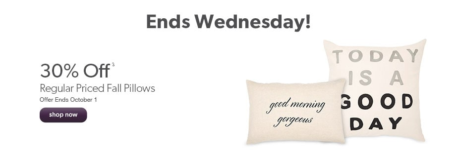 Ends Wednesday! 30% off regular priced fall pillows. Offer Ends October 1.