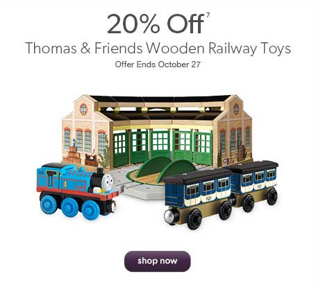 20% off Thomas & Friends Wooden Railway Toys. Offer ends October 27th.