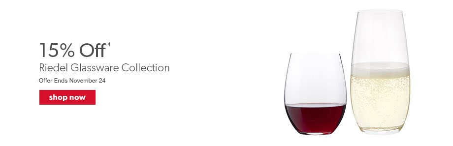 15% Off Riedel Glassware Collection