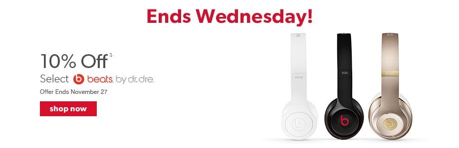 10% off select Beats by Dre. Offer ends November 27.