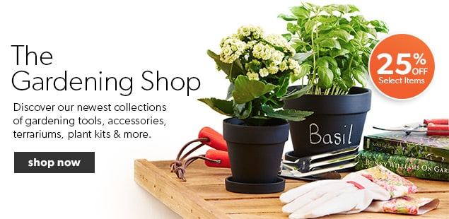 Shop the latest trends in gardening from tools, grow kits, terrariums, accessories and books.