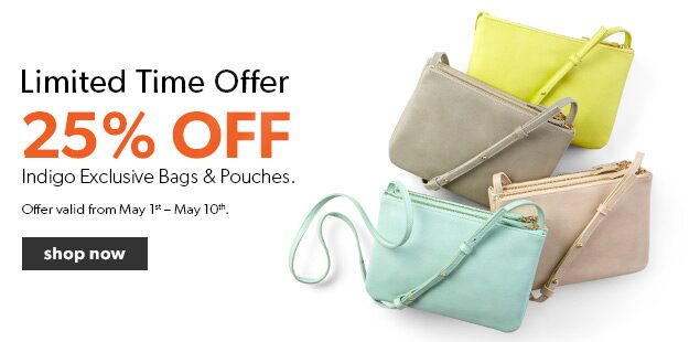 Limited Time offer.25% off Indigo bags,wallets and pouches. Free shipping on orders over $25.