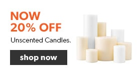 20% off unscented candles. Free shipping on orders over $25.