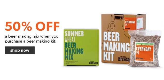 Beer Making Mix promotion. Buy a beer making kit and get a beer making mix for 50% off. Makes the perfect gift for Dad.