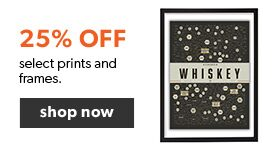 25% off select art prints and frames. Free shipping on orders over $25.