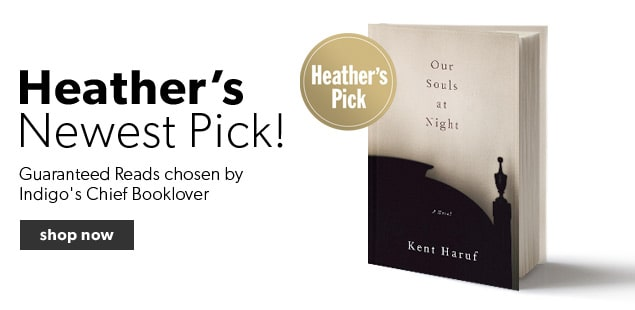 Our Souls at Night by Kent Haruf is the latest Heather's Pick