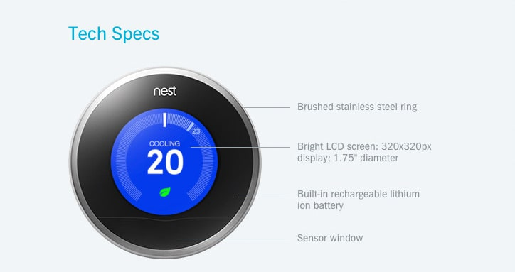 Nest Learning Thermostat: Tech Specs