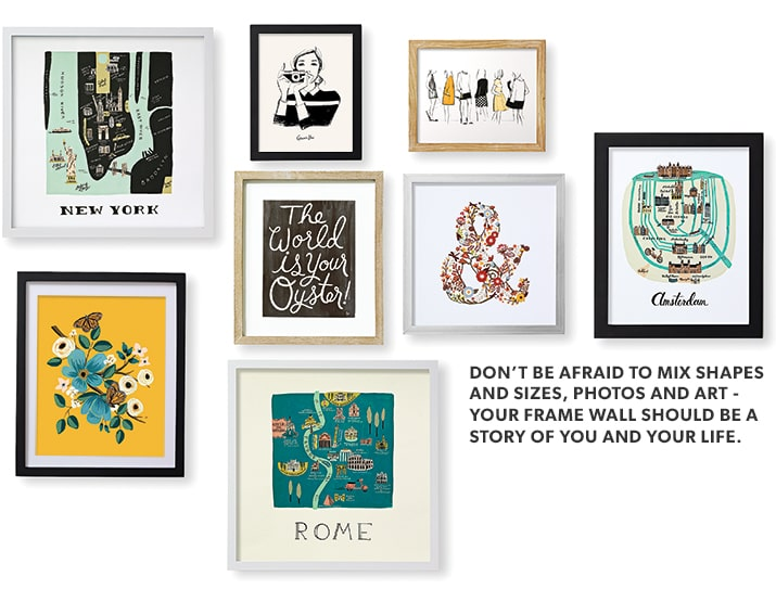 Shop Frames & Wall Décor. Don't be afraid to mix shapes and sizes, photos and art - your frame wall should be a story of you and your life.