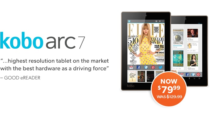 The best tablet for reading. Designed with readers on the move. Kobo arc 7