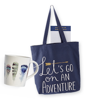 Feather mug and Navy Tote