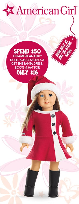 Spend $50 on American Girl dolls and accessories and get the santa dress boots and hat for only $16
