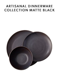 shop the Matte Black Artisanal Dinnerware Collection by Indigo