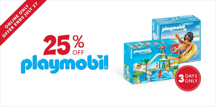 25% off Playmobil. Online only to July 27, 2016