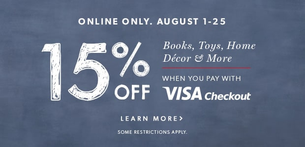 15% off your purchase when you pay with Visa Checkout