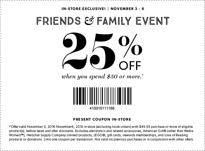 Friends and Family Event - Save 25% in store