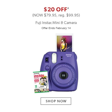 $20 off Fuji Instax Mini 8 Camera. Now $79.95, reg. $99.95. Offer ends February 14.