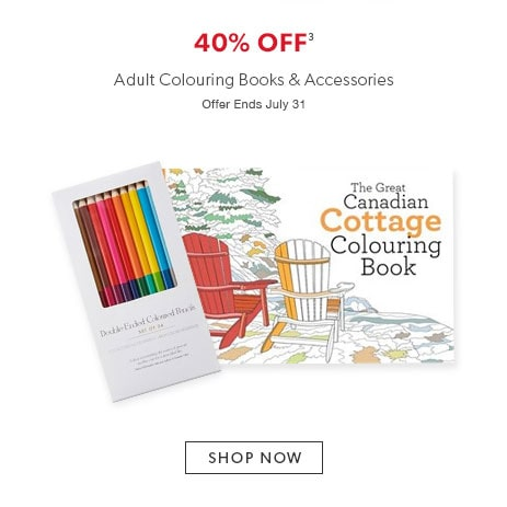 Shop colouring books for adults and accessories. Offer ends July 31, 2016.