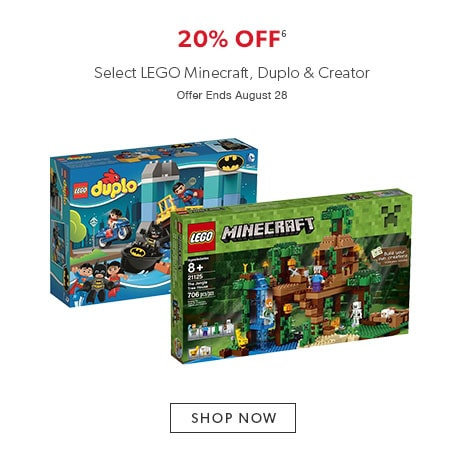 Shop select LEGO now - offer ends August 28, 2016.