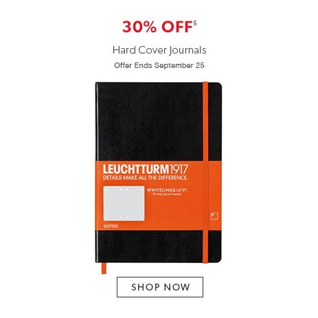 Shop hard cover journals now - offer ends September 25, 2016.