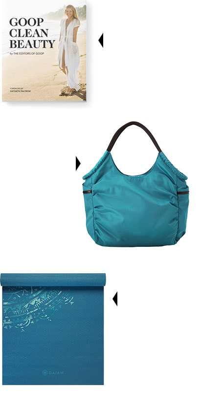 lGOOP clean beauty book, teal gym tote, teal yoga mat