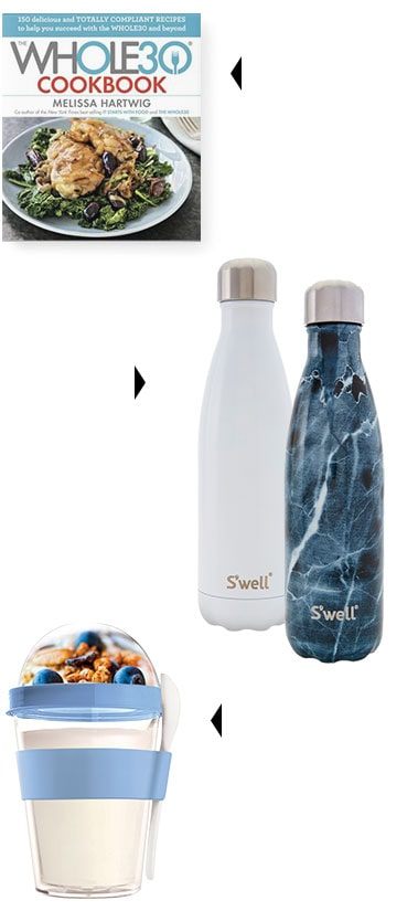 whole 30 cookbook, swell water bottles, food containers