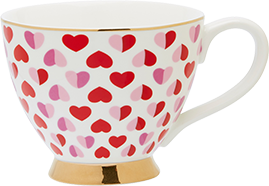 Heart patterned teacup