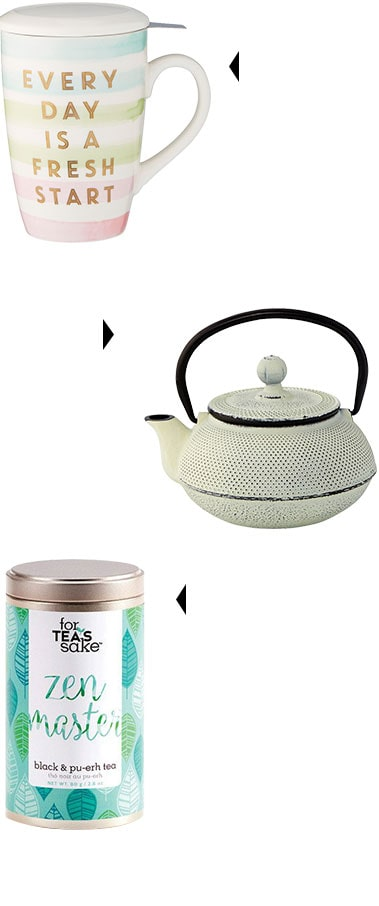 teamug that says 'every day is a fresh start', a teapot, and 'zen master' loose leaf tea