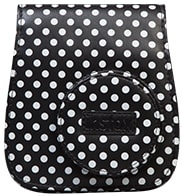 Instax Mini white polka-dot case in black