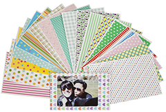 An array of colourful slipcovers to border your Instax mini photos