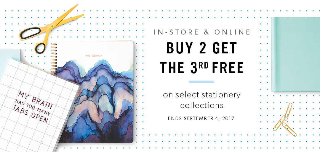 Buy 2 and get the 3rd free on select stationery collections