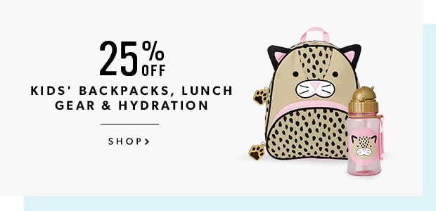 25% Off Kids' Backpacks, Lunch Gear & Hydration