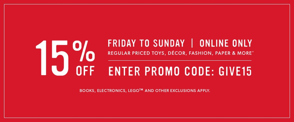 online only, some exclusions apply: use promo code GIVE15