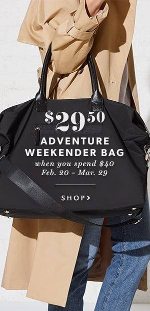 Adventure Weekender Bag $29.50 When You Spend $40