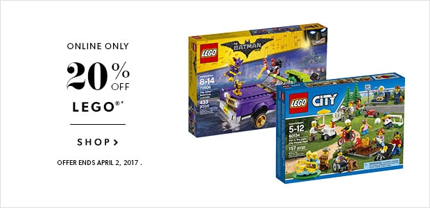 20% Off Lego. Online Only. Ends April 2nd.