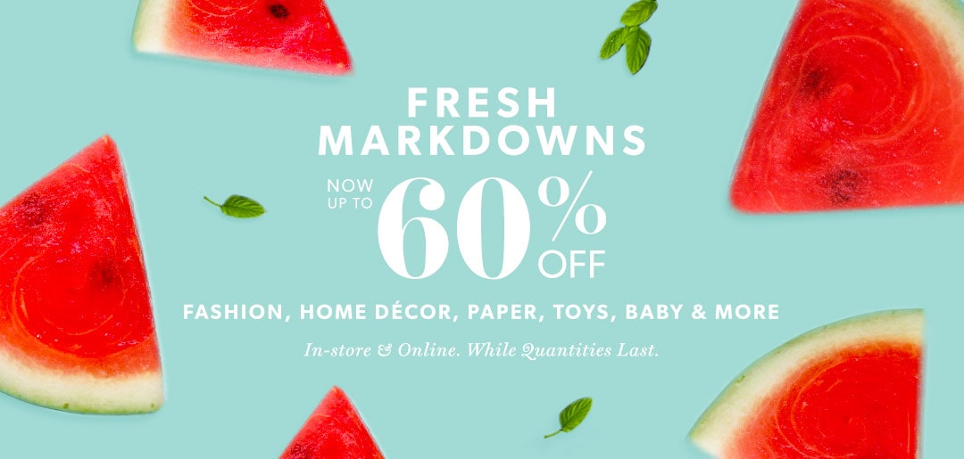 Up to 60% off fashion, home décor, paper, toys, baby & more!