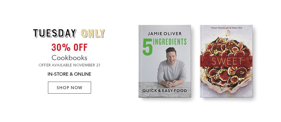 shop cookbooks now, 30% off today only - offer ends November 21, 2017