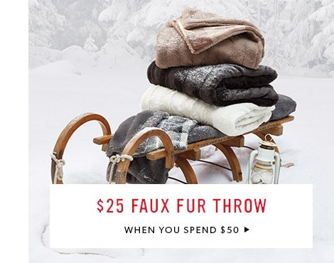 $25 Faux Fur Throw when you spend $50