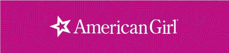 American Girl logo in white typeface on a pink textured background.